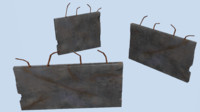 3d model pack concrete walls
