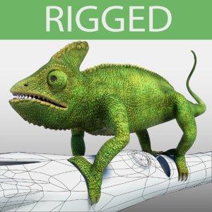 3d chameleon green model