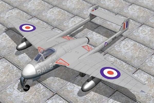haviland vampire jet fighter 3d max