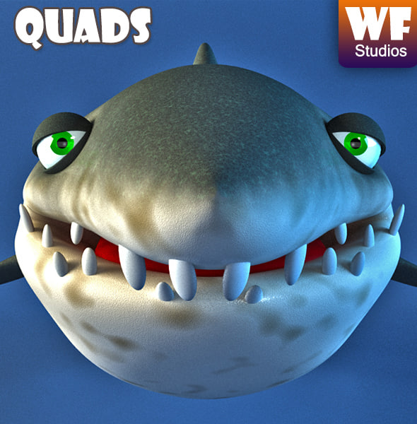 3d shark cartoon