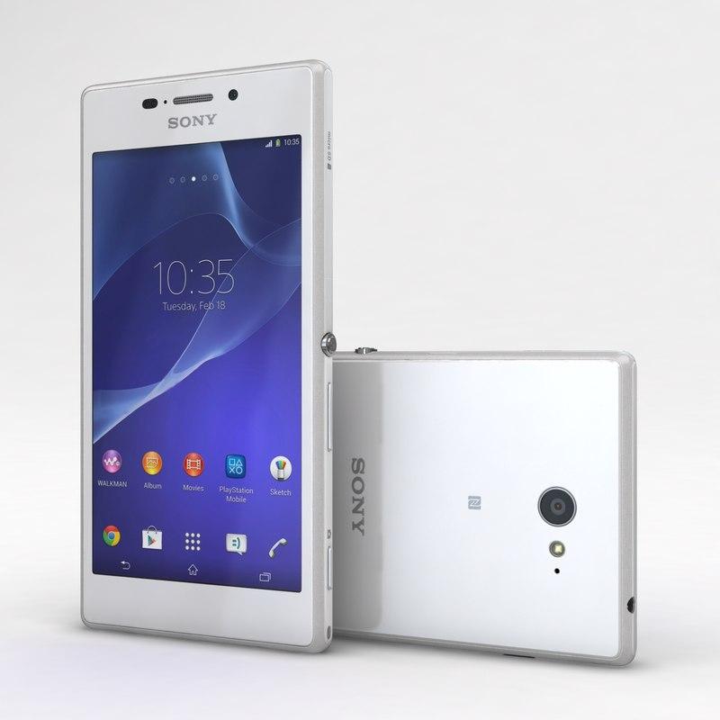 3d sony xperia m2 white