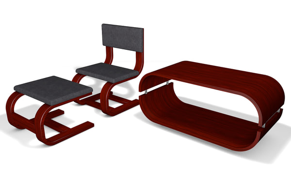 free table chair ottoman 3d model