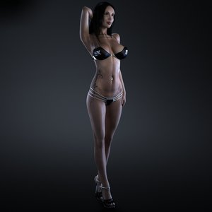 fitness girl rigging female body 3d model