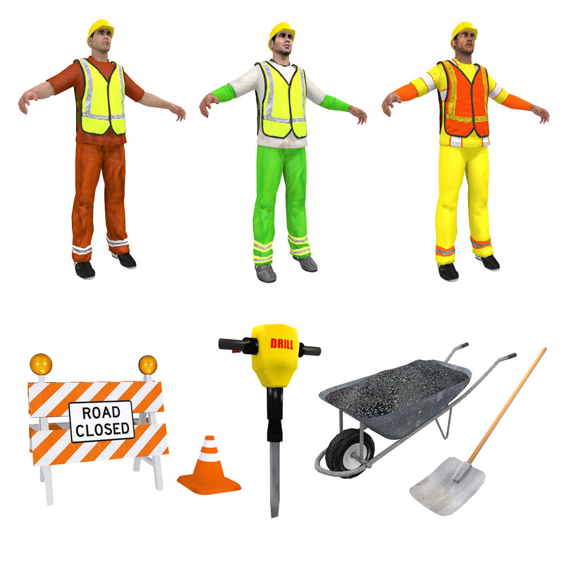 road workers set man 3d max