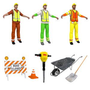 road workers set man 3d max