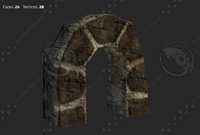 3d model stone arch door