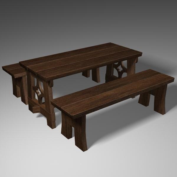 medieval furniture 3d 3ds
