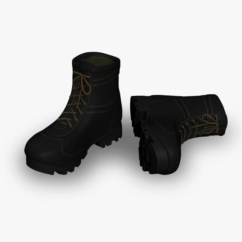 black boots 3d obj