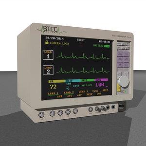 3d monitor medical ecg model