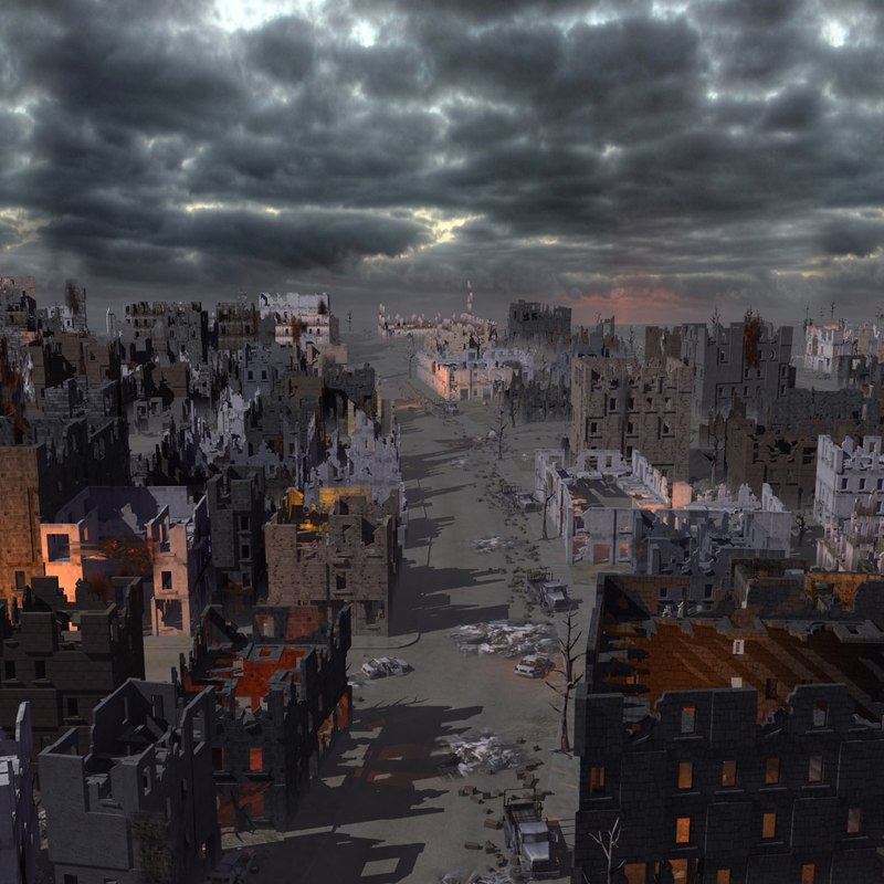 3d model of ruined city