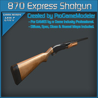 remington 870 express shotgun 3d model