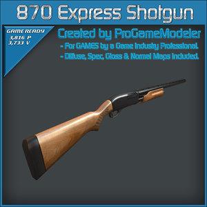remington 870 express shotgun 3d model