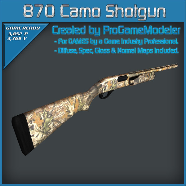 remington 870 express camo 3d max