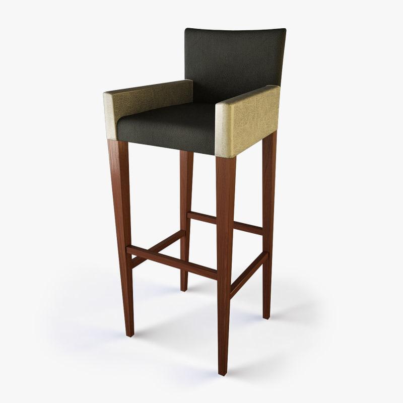 3d model designer bar seat
