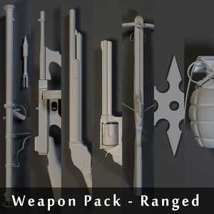 weapons pack - ranged 3d model