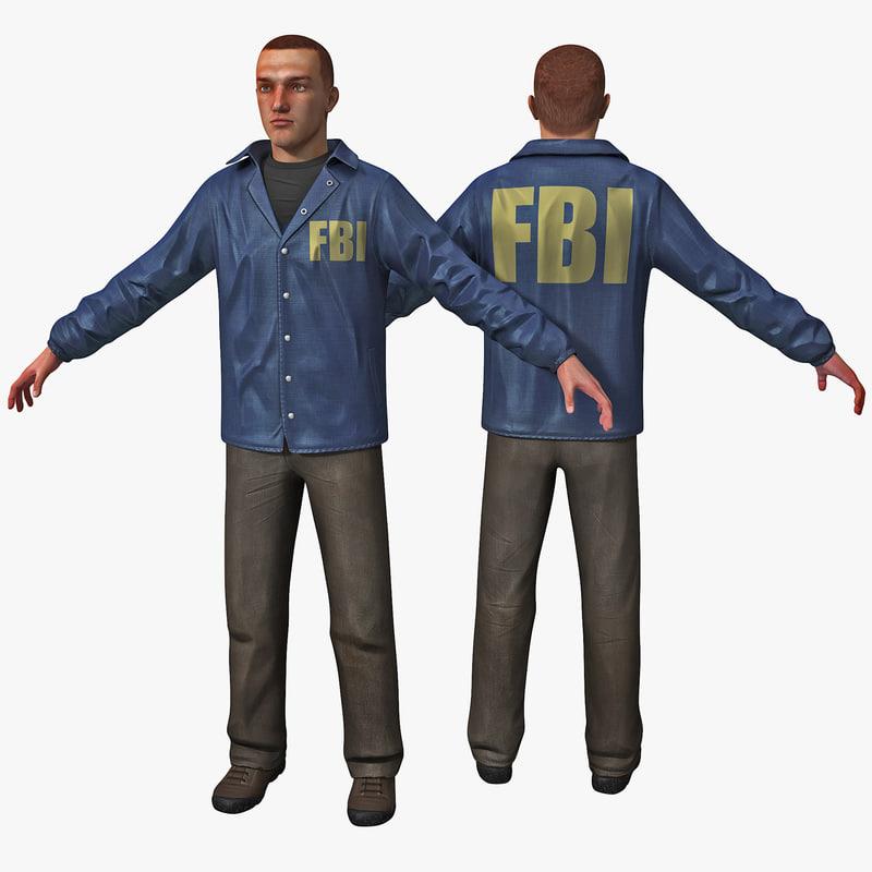 white male fbi agent 3d c4d