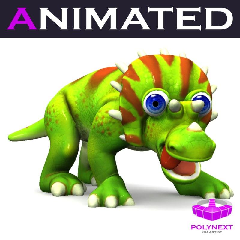 cartoon triceratops 3d model