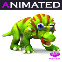 cartoon triceratops 3d model