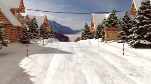 winter mountain houses 3d model