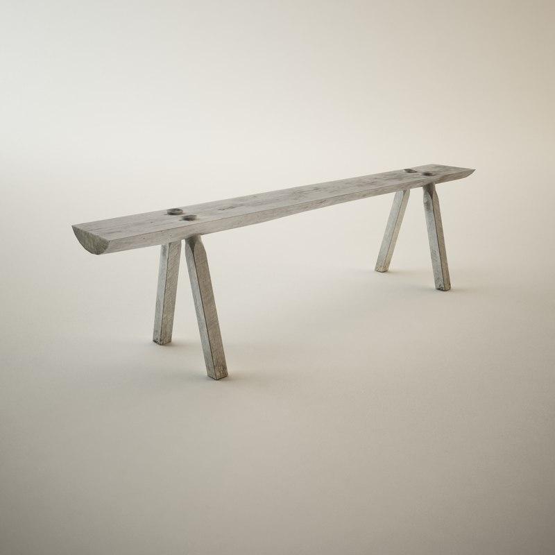 antique log bench 3d 3ds