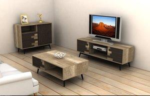 furniture set living cabinet 3ds