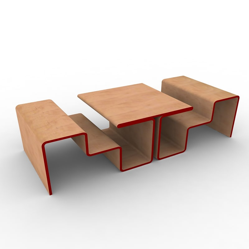 3d model of wooden bench