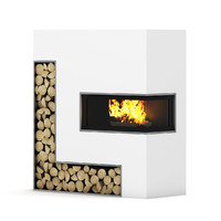 large fireplace wall 3d obj