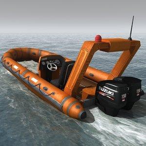 rigid inflatable boat 3d model