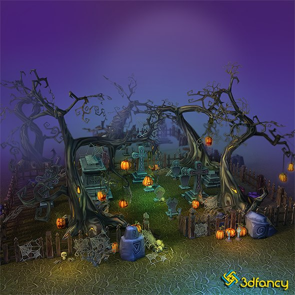 3d max hand painted cemetery halloween