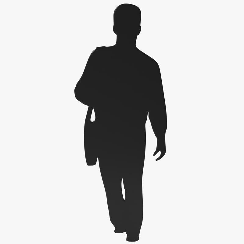 man shoulder bag silhouette 3ds