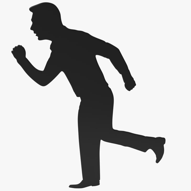 running man silhouette 3d max
