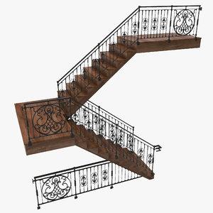 3d model staircase ornate railings