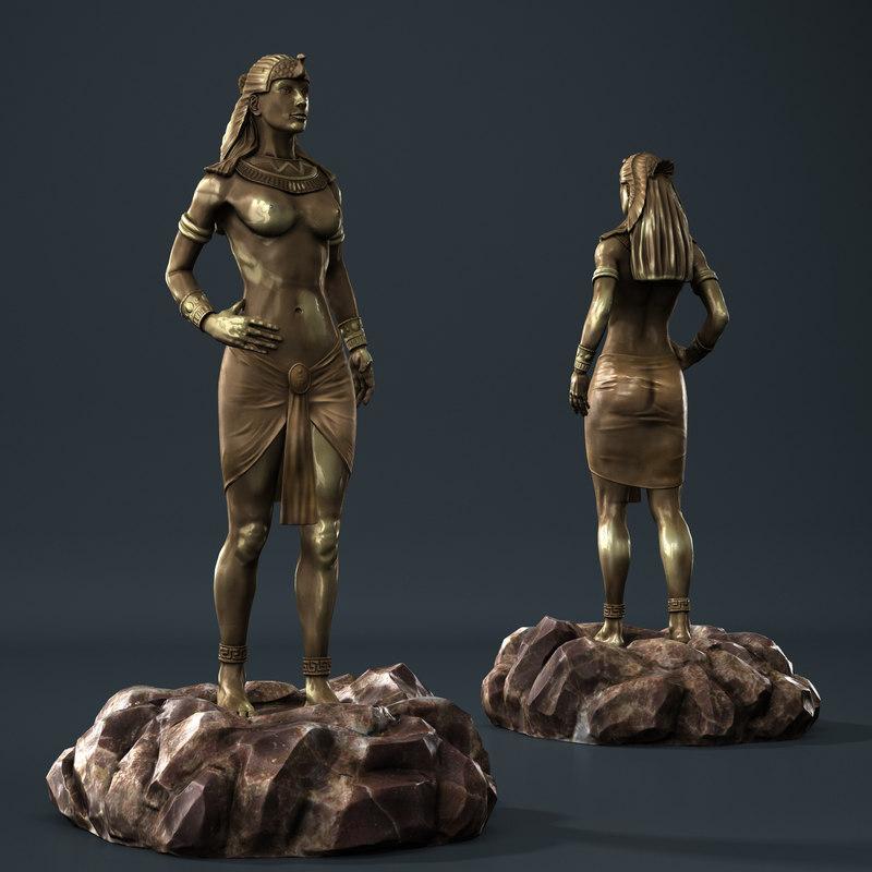 3d cleopatra statuette
