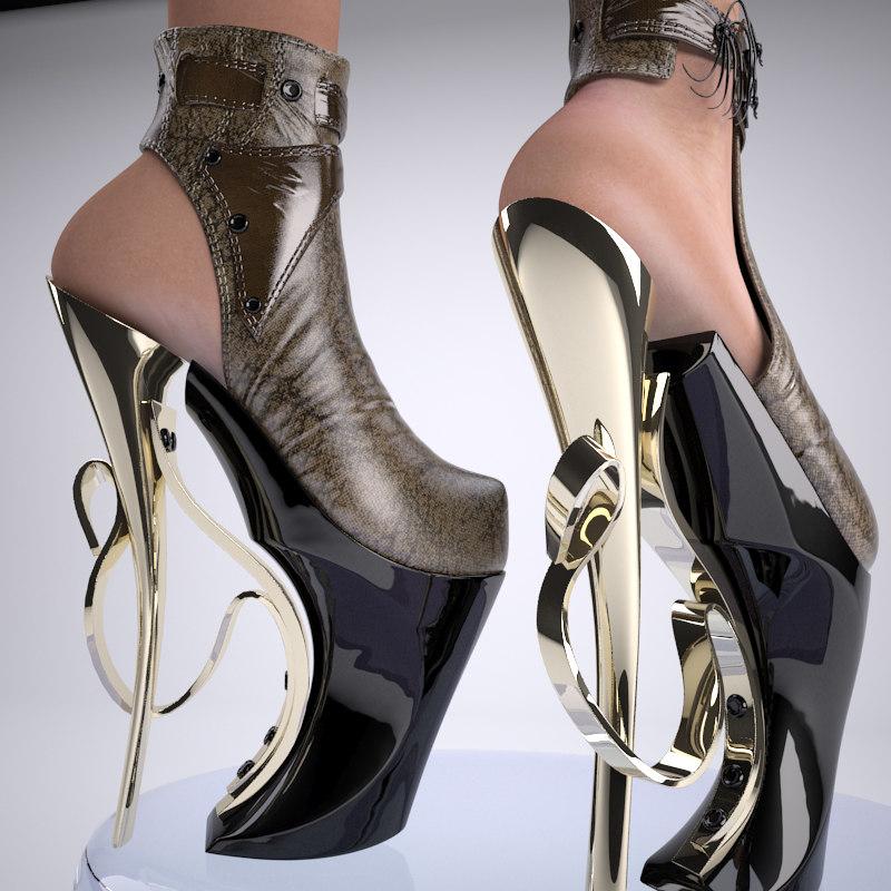 3ds max heels shoe