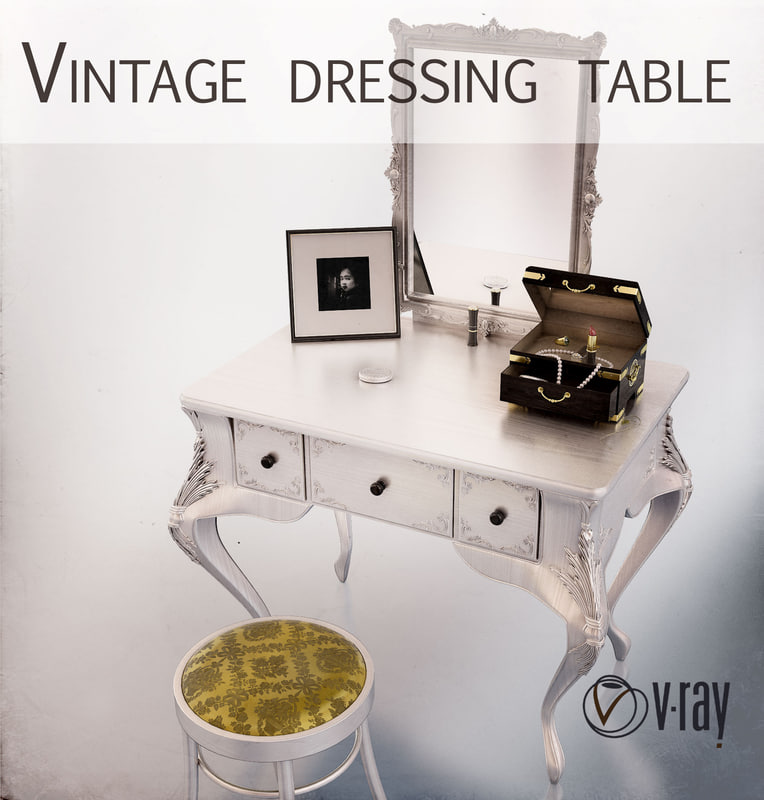 vintage dressing table jewelry box 3d max