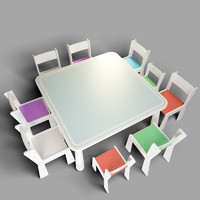 3d kindergarten children furniture chairs model