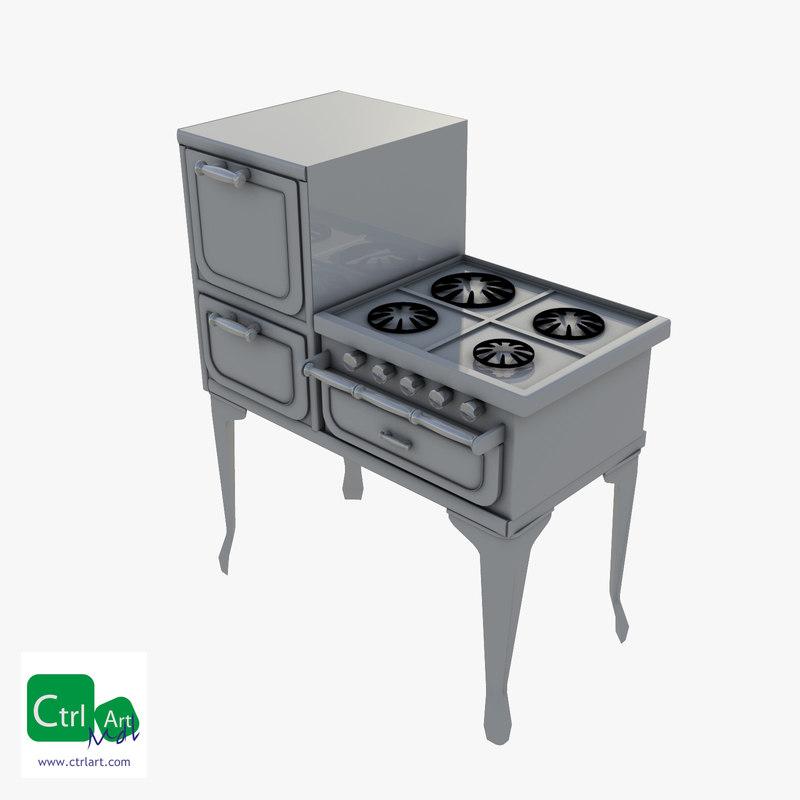3d vintage stove oven model
