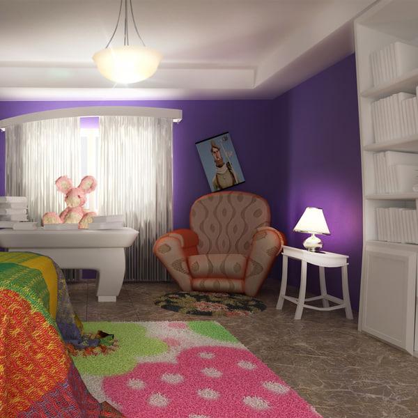 3d room toon cartoon model