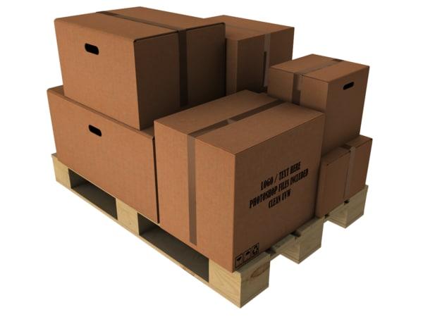 3d model cardboard europallet