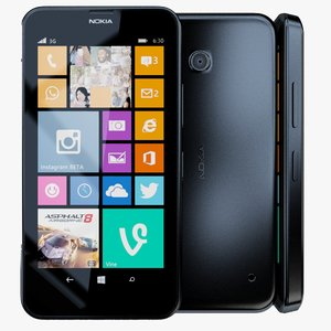 3d model nokia lumia 630 black