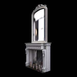 3d fireplace mirror model