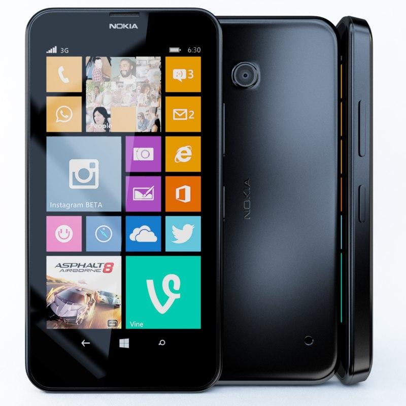 3d model nokia lumia 630 black