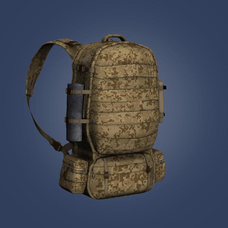 3d soldier backpack model