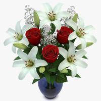 3d bouquet roses lilies