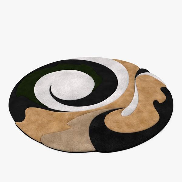 circular throw rug 3d c4d