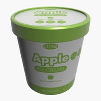 3d ice cream pot apple model
