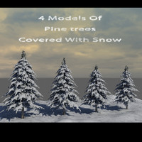 pine trees covered snow 3d max