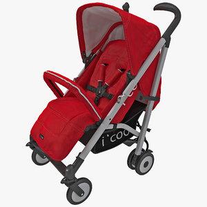 3d red umbrella stroller icoo model