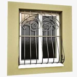 3d windows security bars model