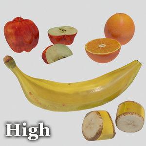 fruit banana apple orange 3d model